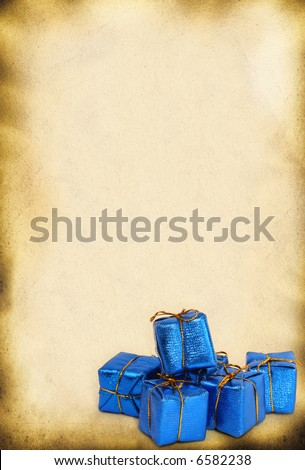 christmas retro background with group of toy gifts - stock photo