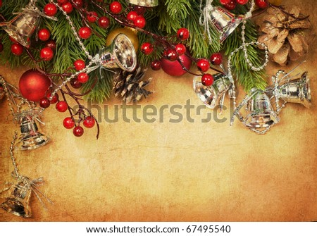 Christmas Retro Card - stock photo