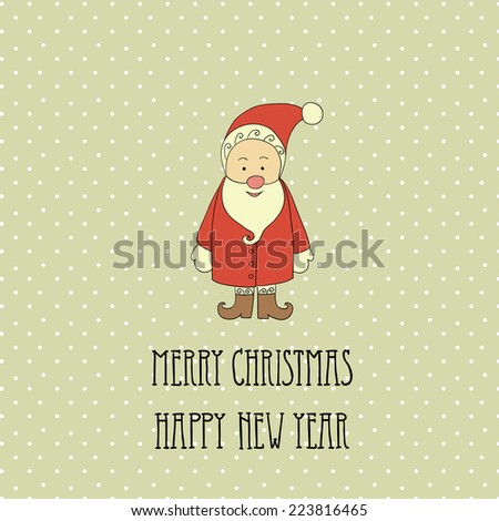Christmas retro elements and illustrations, lettering. - stock photo