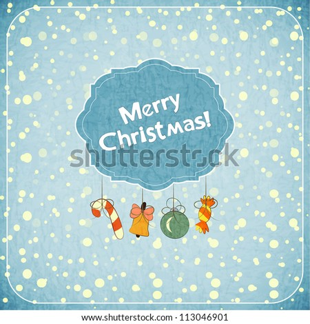 Christmas retro greeting Card with toys and text Merry Christmas! in vintage style - JPEG version - stock photo