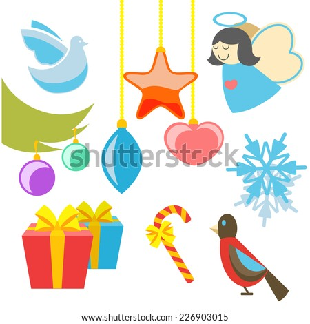 Christmas retro icons, elements and illustrations of angel tree star dove bird gift. Raster version - stock photo