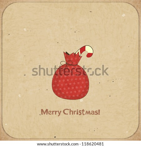 Christmas retro postcard with gift bag in vintage style with place for text - JPEG version - stock photo