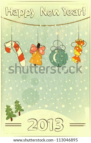 Christmas retro postcard with toys in vintage style with place for text - JPEG version - stock photo