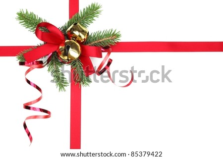 Christmas ribbon bow with fir branches - stock photo