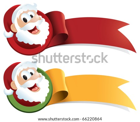 Christmas ribbon with santa claus cartoon. Just ad text! Perfect for web buttons, tags, banners, signs and stickers - raster version. - stock photo