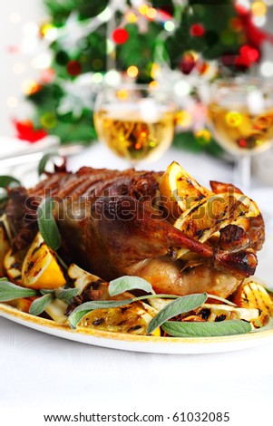 Christmas roast duck with orange, anise and ginger