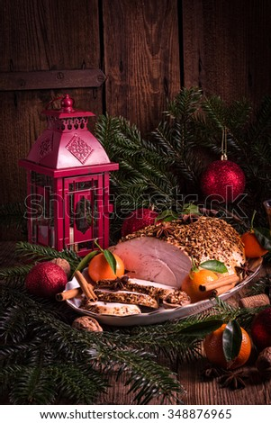 Christmas roast turkey - stock photo