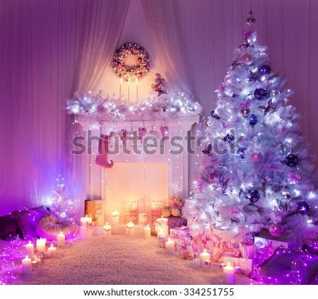 Christmas Room Fireplace Tree Lights, Xmas Home Interior Decoration, Hanging Sock and Presents - stock photo