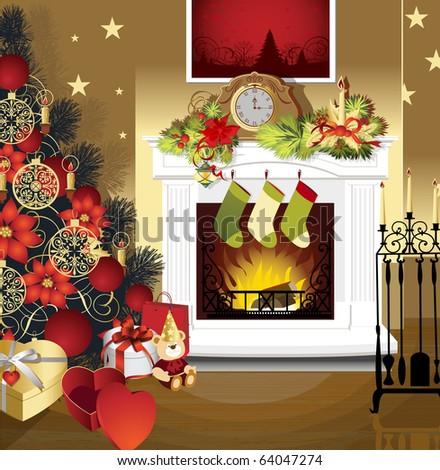 Christmas Room Furniture Christmas Tree Fireplace Stock