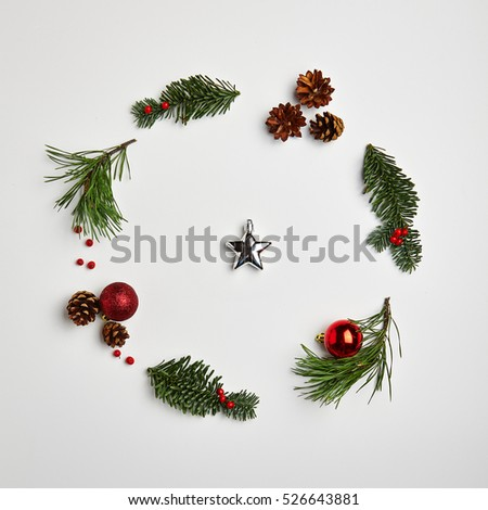 Christmas Round Frame from Natural Branches and Christmas Balls. Flat Lay