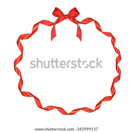 Christmas Round Frame Red Ribbon Bow Stock Photo (Safe to Use ...
