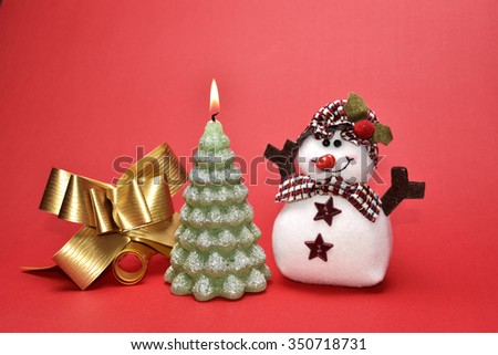 Christmas Rustic Decoration on Red  Background