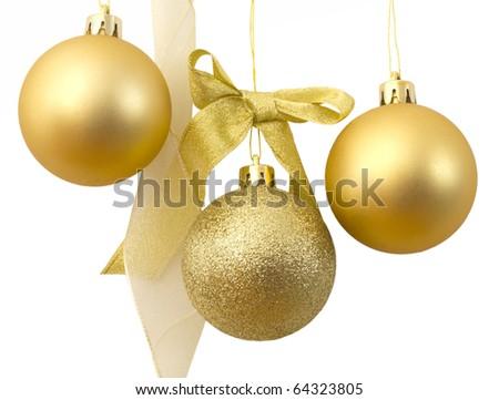 Christmas's decorative, golden balls - stock photo
