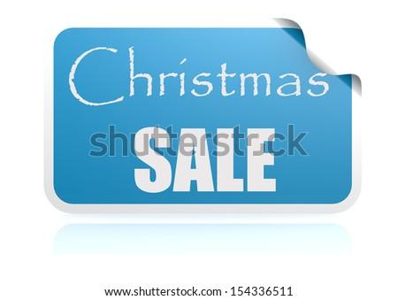 Christmas sale blue sticker - stock photo
