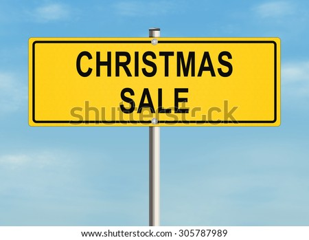 Christmas sale. Road sign on the sky background. Raster illustration. - stock photo
