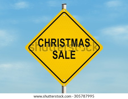 Christmas sale. Road sign on the sky background. Raster illustration.