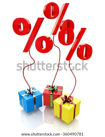 Christmas sales, concept interest discounts in gift in the design of the information associated with the holiday discounts - stock photo