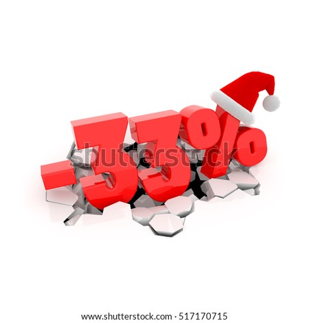 Christmas sales design template with 33% off. 33 percent discount price with Santa Claus hat on cracked white surface. 3D xmas illustration.