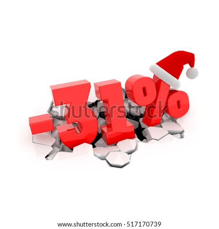 Christmas sales design template with 31% off. 31 percent discount price with Santa Claus hat on cracked white surface. 3D xmas illustration.