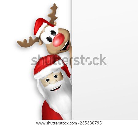 Christmas Santa Claus and Reindeer