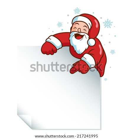 Christmas Santa Claus holding a blank sign. Vector version also available in my gallery. - stock photo