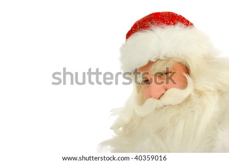Christmas Santa Claus looking . Isolated on white - stock photo