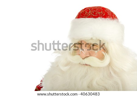 Christmas Santa Claus looking . Isolated on white