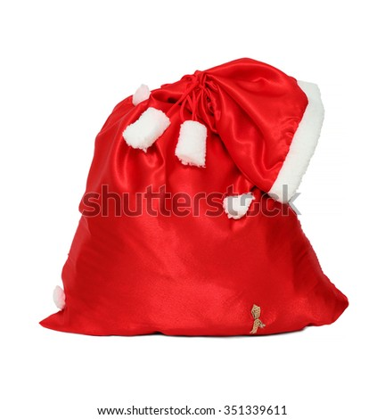 christmas santa claus red bag isolated on white - stock photo