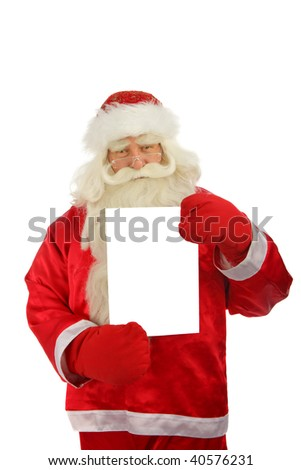 Christmas Santa Claus with sign-post . Isolated on white