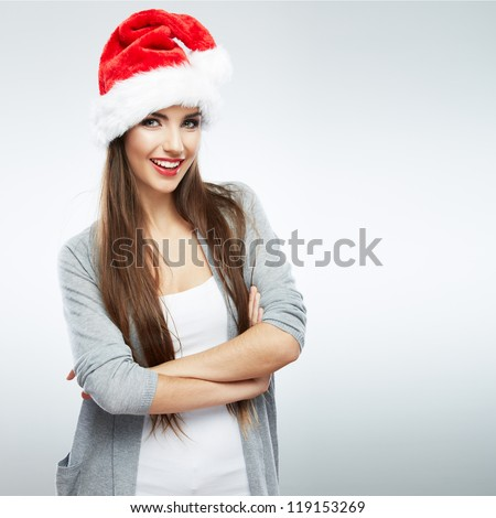 Christmas Santa hat isolated woman portrait . Smiling happy girl on white background.