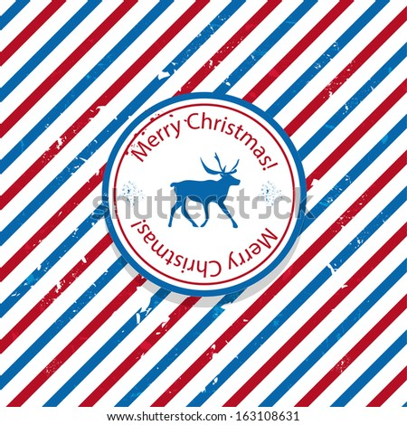 Christmas Santa post red and blue reindeer mail background - stock photo