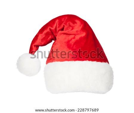 Christmas Santa red hat isolated on white background - stock photo