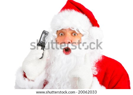 Christmas Santa with cellular. Over white background