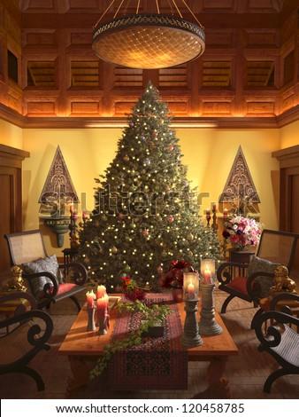 Christmas scene with elegant interior - stock photo
