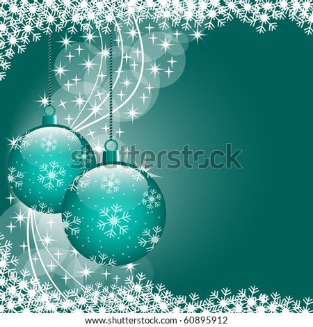 Christmas scene with hanging ornamental blue xmas balls, snowflakes and stars. Copy space for text. Vector also available.