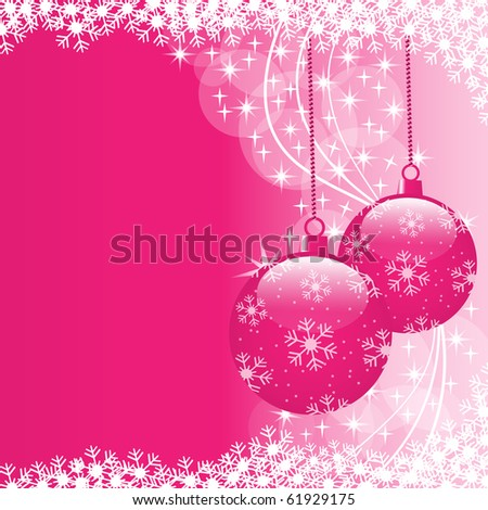 Christmas scene with hanging ornamental pink xmas balls, snowflakes and stars. Copy space for text. Vector also available.