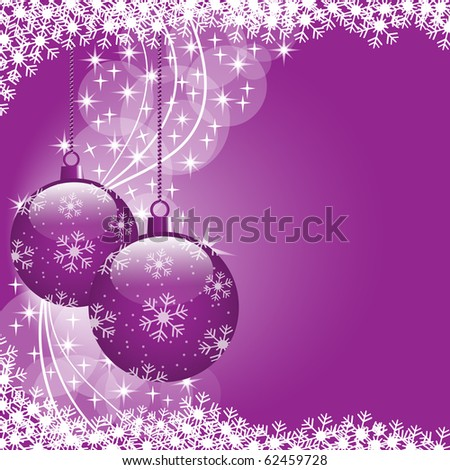 Christmas scene with hanging ornamental purple xmas balls, snowflakes and stars. Copy space for text. Vector also available.