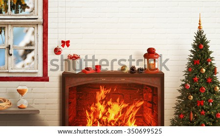 Christmas scene with tree and fireplace, decorations, lights, ornaments, balls, gifts. Wooden wall and window in background.