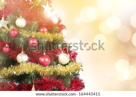 Christmas scene with tree, close-up.