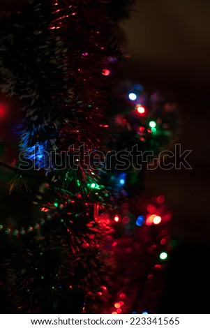Christmas scene with tree gifts and fire in background - stock photo