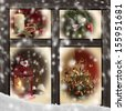Christmas scenes seen through a wooden window - stock