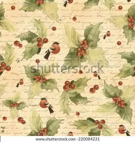 Christmas seamless background in vintage styled watercolor with holly berries and bullfinches. Text in back is not readable. - stock photo