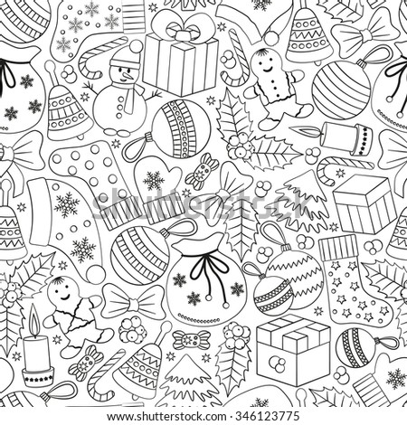 Christmas seamless background with many winter doodles. Greating card. Toys, cookies, snowmen, fir, candies, socks, gifts, bows, snowflakes, stars, hollies, mittens, turquoise, etc.