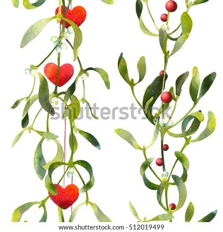 Christmas seamless pattern borders with mistletoe and decorative hearts isolated on white background. Watercolor illustration