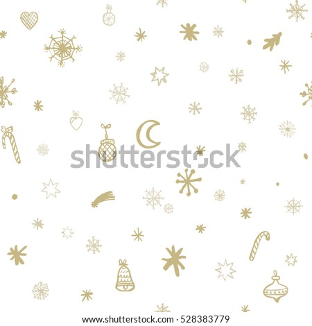 Christmas seamless pattern.Golden on white seasonal items in cute allover print. Hand-drawn Christmas and New Year pattern.