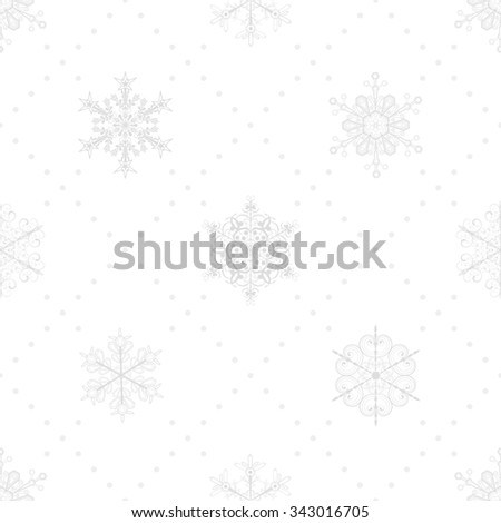 Christmas seamless pattern of snowflakes and dots, gray on white - stock photo