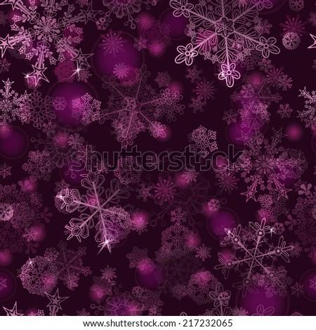 Christmas seamless pattern of snowflakes, white on violet - stock photo
