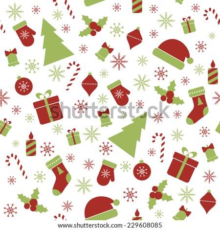 Christmas seamless pattern. Raster version - stock photo