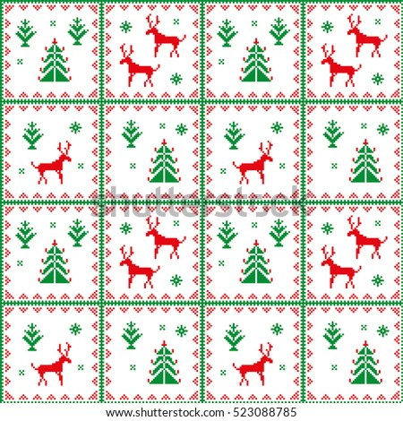 Christmas seamless pattern. Scandinavian folk decor - deer, snow flake and tree. Nordic ornament. Red and green pixel image with light background. Raster jpg file.