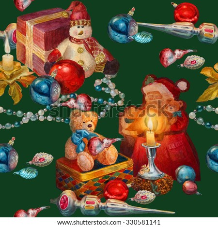 Christmas seamless pattern. Watercolor painting. - stock photo
